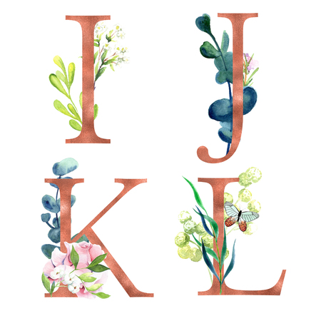 I, J, K, L, Decorative floral alphabet with gold foil letters and watercolor botanical decoration.