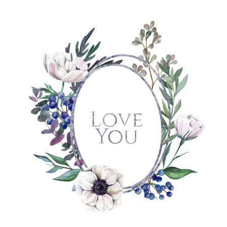 Love you. Greeting card with hand drawn watercolor floral elements.