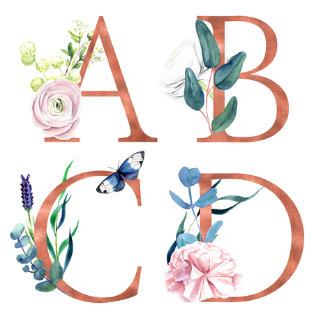 A, B, C, D, Decorative floral alphabet with gold foil letters and watercolor botanical decoration. Фото со стока