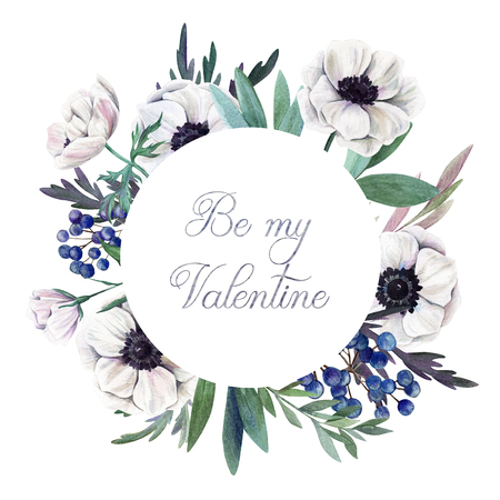 Be my Valentine. Greeting card with hand drawn watercolor floral elements. Фото со стока