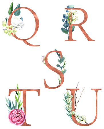 Q, R, S, T, U, Decorative floral alphabet with gold foil letters and watercolor botanical decoration.