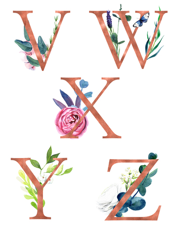 Decorative floral alphabet with gold foil letters and watercolor botanical decoration. Фото со стока