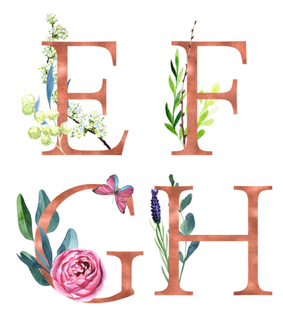 E, F, G, H, Decorative floral alphabet with gold foil letters and watercolor botanical decoration.