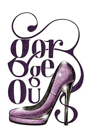 High-heel shoe, vector illustration, hand drawn lettering