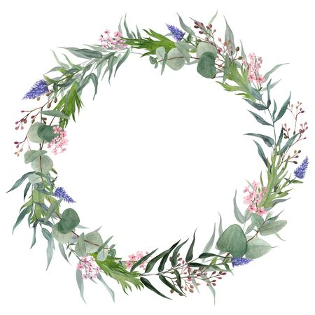 Hand drawn watercolor wreath. Greenery and tiny flowers