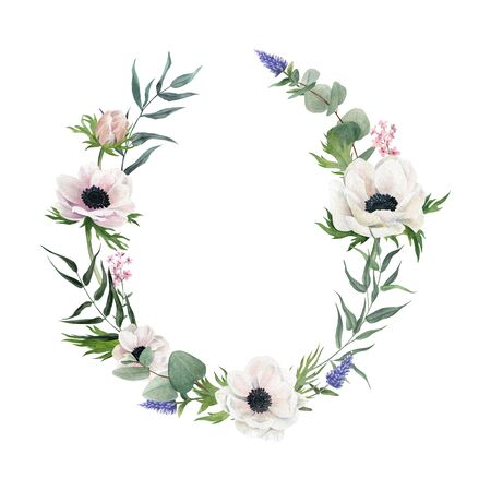 Hand drawn watercolour wreath. White flowers and greenery Stok Fotoğraf