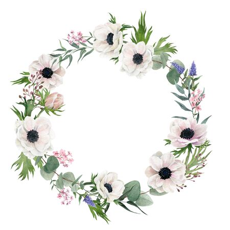 Hand drawn watercolor wreath. Anemones and greenery