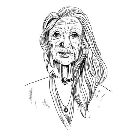 Portrait of Beautiful Old woman, sketch, in shirt Фото со стока - 135534404