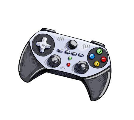 Grey gamepad, game controller. Hand drawn vector illustration.