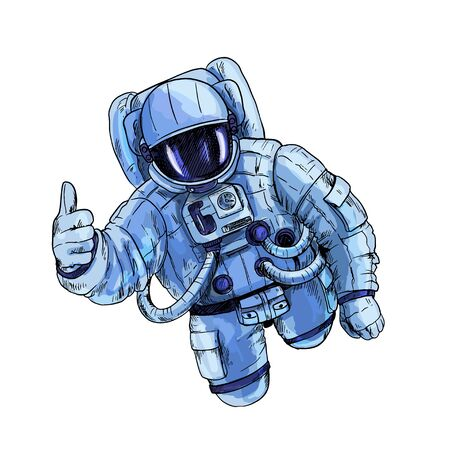 Astronaut in blue space suit with one hand, OK gesture, isolated on white background. Hand drawn vector illustration.  イラスト・ベクター素材
