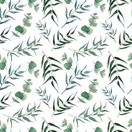 Watercolor seamless pattern, hand drawn illustration. Greenery. 写真素材