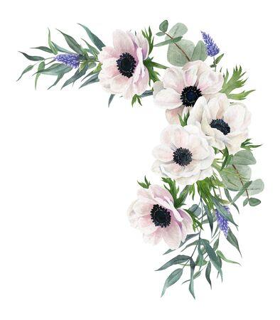 Beautiful watercolor arrangement, hand drawn illustration. Anemones
