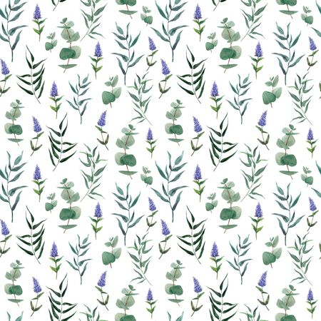 Watercolor seamless pattern, hand drawn illustration. Greenery and leaves 写真素材