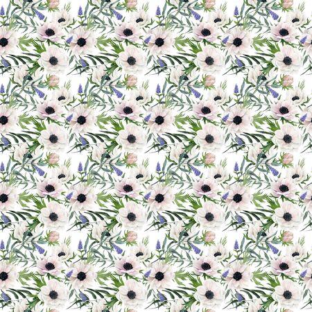 Watercolor seamless pattern, hand drawn illustration. anemones