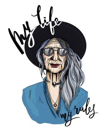 Portrait of Beautiful Old woman dressed in shirt