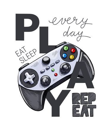 Grey gamepad with text composition, EVERY DAY EAT, SLEEP, PLAY, REPEAT. Hand drawn vector illustration.  イラスト・ベクター素材