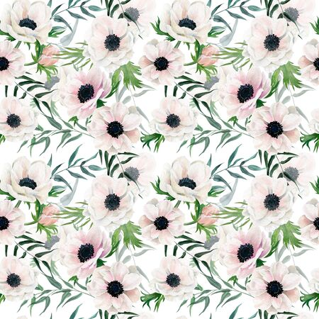 Watercolor seamless pattern, hand drawn illustration. Anemones and greenery 写真素材