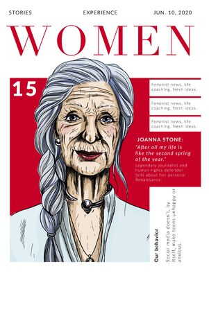 Magazine cover with beautiful old lady portrait