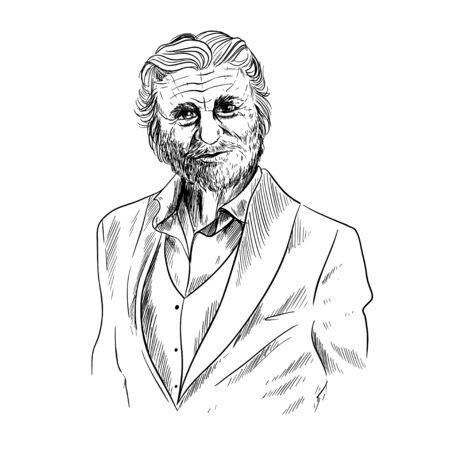 Old man sketch, elegant man dressed in suite