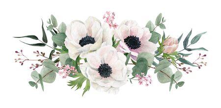 Beautiful watercolor arrangement, hand drawn illustration. Anemones and greenery. 写真素材