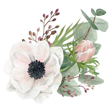 Watercolor bouquet, hand drawn illustration. Anemone and greenery.