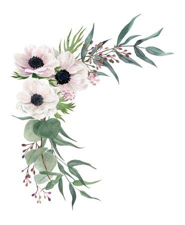 Beautiful watercolor corner arrangement, hand drawn illustration. Anemones and greenery.