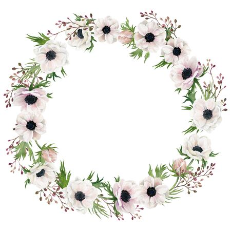 Anemones, berries and leaves. Hand drawn watercolor wreath. Wedding invitation, nursery poster, greeting card.