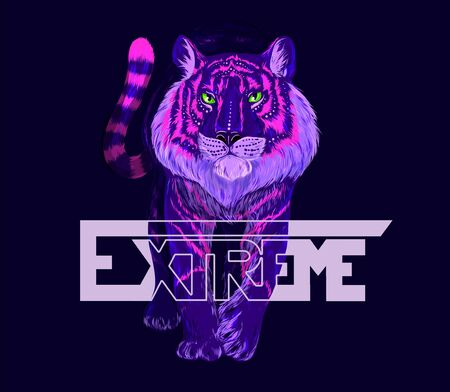 Fluorescent walking tiger with shiny green eyes, purple and pink fur, dark blue background. The word EXTREME is placed over illustration. Hand drawn vector illustration, perfect apparel design