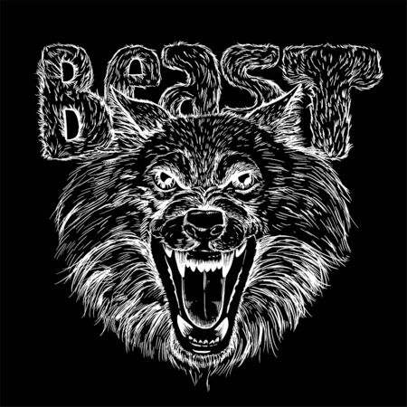 Grin of the wolf, the text BEAST covered with fur is behind. Hand drawn vector illustration, white sketch on black background.