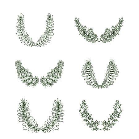Vector green Branch frame set, design elements  イラスト・ベクター素材