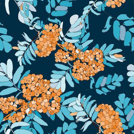 Rowan seamless pattern with orange rowan berries  イラスト・ベクター素材