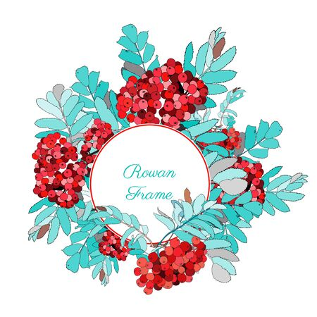 Cute Round frame decorated with rowan berries