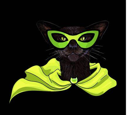 Black oriental cat in superhero mask and cloak Illustration