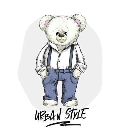 White teddy bear in trousers and shirt