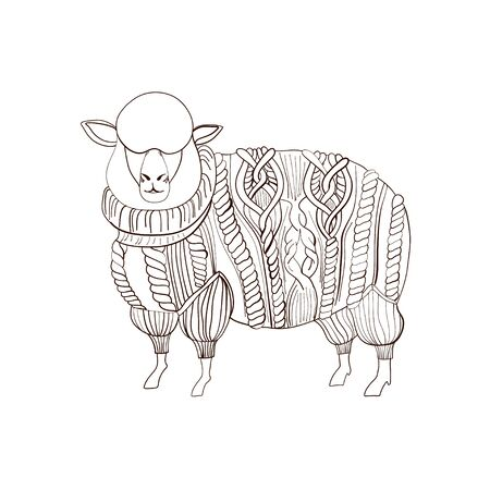 Fluffy Sheep in knitted sweater, hand drawn