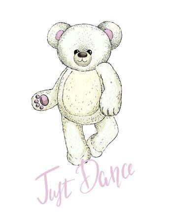 Dancing white plush teddy bear, vector image