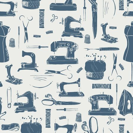 Sewing tools, seamless pattern in vintage grey Illustration