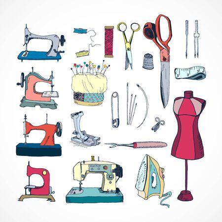 Sewing tools kit, color hand drawn vector