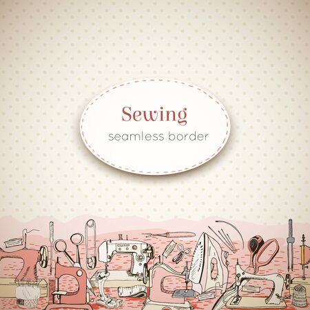 Sewing tools and seamless border, design template