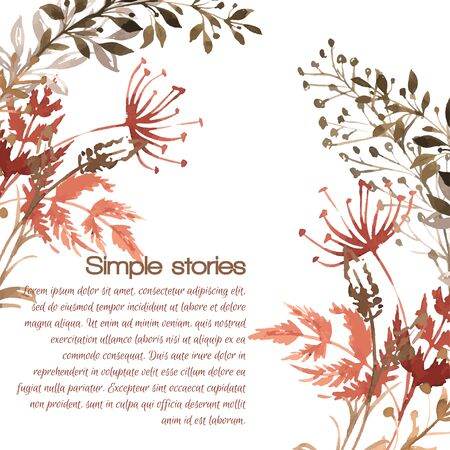 Watercolor herbs and flowers, vector drawn image. Vetores