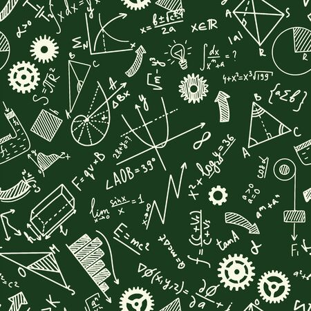Math, chemistry and physical formules on board Ilustración de vector