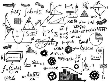 Fórmulas matemáticas y físicas en blanco y negro Ilustración de vector