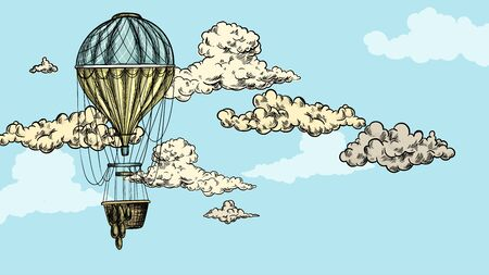 Turquoise antique air balloon in sky with clouds Illustration