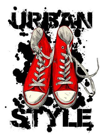 Red vintage sneakers with black ink blots Illustration