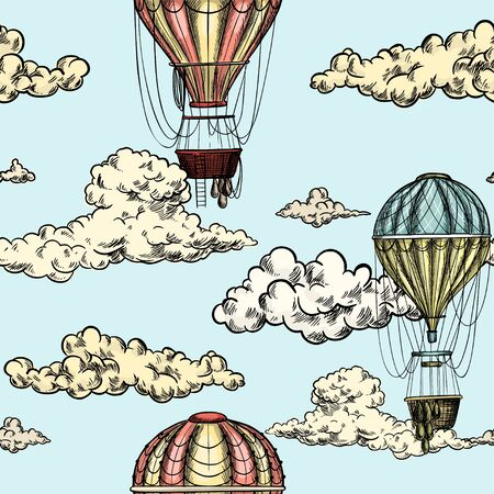 Seamless pattern with antique air balloons in sky Illustration