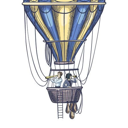 Two people with spyglasses in air balloon basket