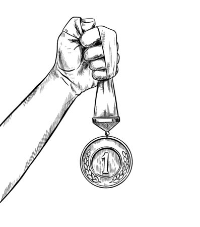Hand holding ribbon with medal in a fist