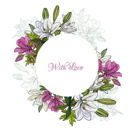 White lilies and begonia, round frame for wedding Illustration