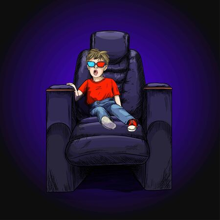 Surprised boy in 3d glasses and red t-shirt seating in cinema chair, hand drawn vector illustation, full colored sketch.