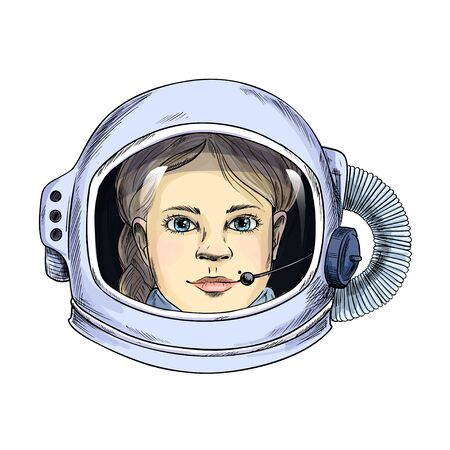 Portrait of young lady in space helmet